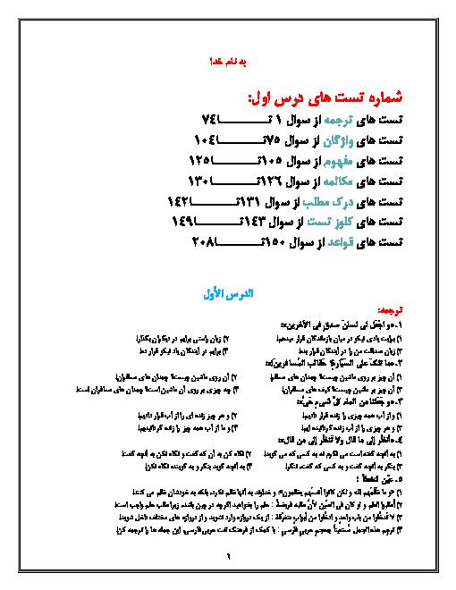 مجموعه سوالات تستی جامع درس 1 عربی (1) دهم   ذاكَ هوَ اللّٰهُ