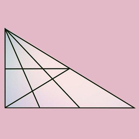 تصویر ضمیمه سوال: در شکل زیر چند مثلث قابل شمارش است؟ تعداد مثلث های شکل زیر را بنویسید.