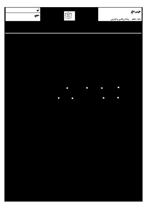 امتحان نوبت اول عربی، زبان قرآن (1) دهم رشته رياضی و تجربی دبیرستان پسرانه سادات اصفهان - دیماه 95