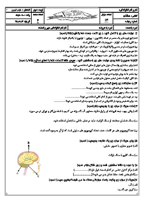 آزمون نوبت دوم علوم تجربی هشتم دبیرستان نمونه دولتی شهید مرشد یزد | خرداد 95