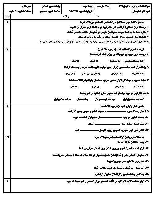 آزمون نوبت دوم تاریخ (2) یازدهم دبیرستان نبوت | خرداد 1398