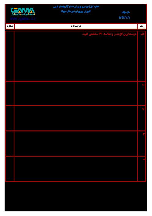 آزمون نوبت دوم املای فارسی ششم هماهنگ مهاباد (نوبت صبح) | خرداد 1397