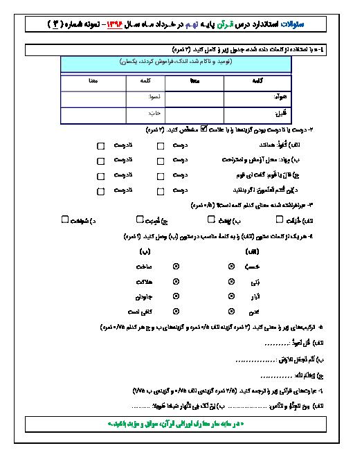 آزمون نوبت دوم درس قرآن پایه نهم - خرداد ماه 1396 - شماره سوّم