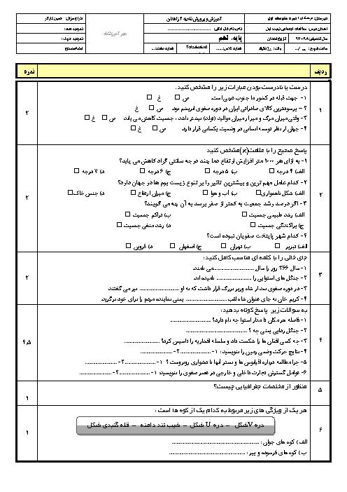 آزمون نوبت اول مطالعات اجتماعی نهم دبیرستان فرهنگیان   دی 1396