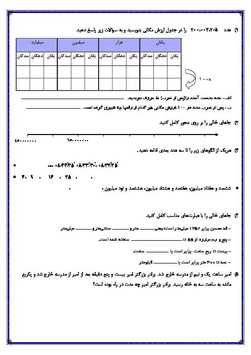 آزمونک ریاضی پنجم  دبستان جامی سرعین با جواب    فصل 1: عدد نویسی و الگوها