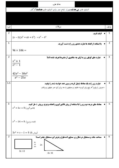 امتحان نوبت اول ریاضی و آمار دهم دبیرستان امام رضا | دی 1397