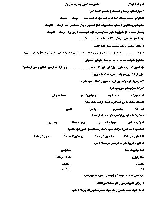 امتحان علوم تجربی نهم دبیرستان شهید چمران طبس | فصل اول: مواد و نقش آنها در زندگی