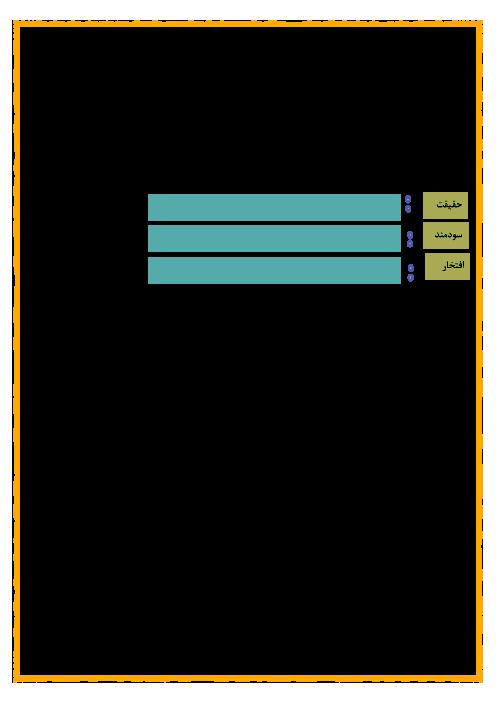 آزمون درس 10 و 11 فارسی سوم دبستان جنت الرضوان | فصل هنر و ادب
