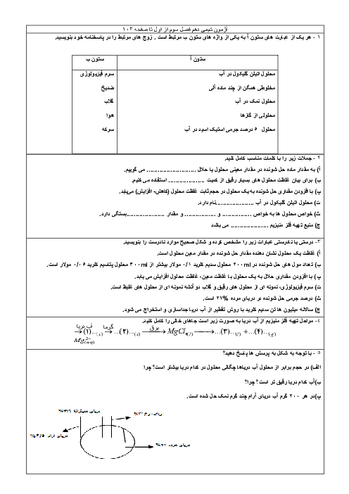 ارزشیابی مستمر شیمی (1) دهم دبیرستان میر محمدی | فصل سوم (ابتدای فصل تا صفحه 103)