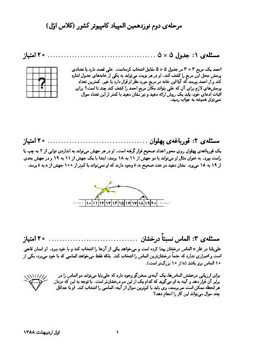 آزمون مرحله دوم نوزدهمین المپیاد کامپیوتر کشور | اردیبهشت 1388