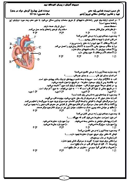 سوالات تستی فصل 4 زیست شناسی (1) دهم دبیرستان شاهدالعلوم | گردش مواد در بدن + پاسخ تشریحی