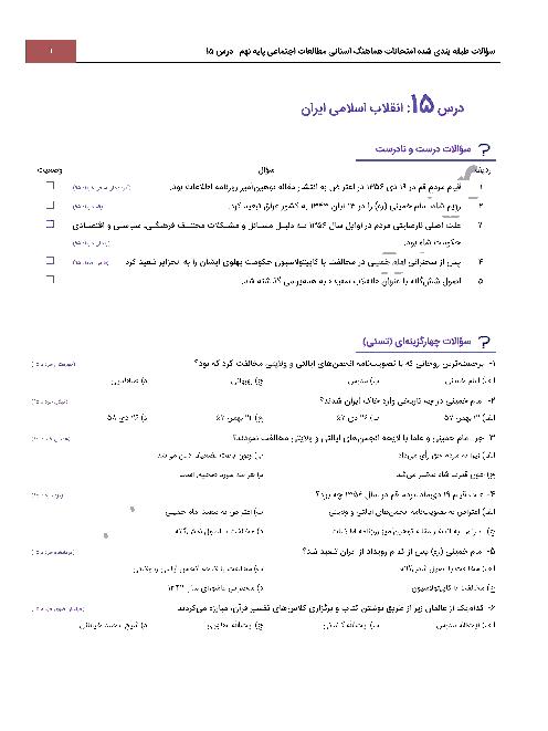 سؤالات طبقه بندی شده امتحانات هماهنگ استانی مطالعات اجتماعی پایه نهم با جواب | درس 15: انقلاب اسلامی ایران