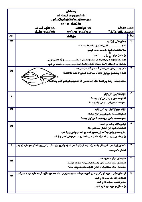 امتحان نیمسال اول ریاضی و آمار (3) دوازدهم دبیرستان حاج آخوند ملاعباس   دی 1397