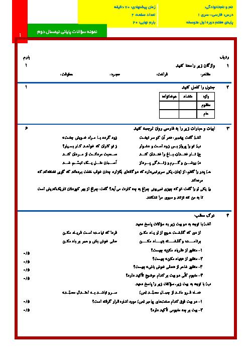 نمونه سوالات پایانی نوبت دوم درس ادبیات فارسی پایه هفتم با پاسخنامه تشریحی | سری(1)