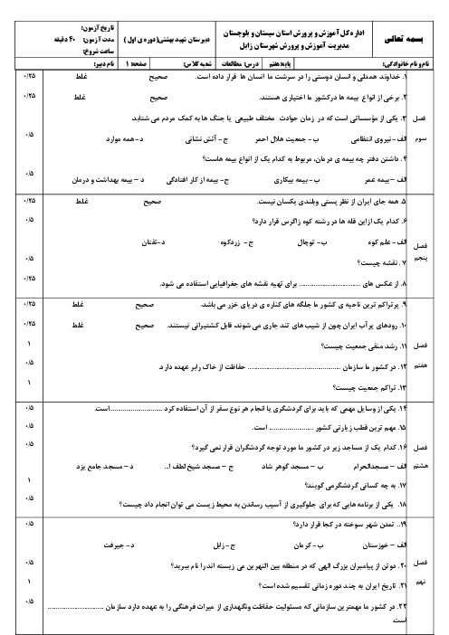 آزمون نوبت دوم مطالعات اجتماعی پایه هفتم مدرسه شهید بهشتی | اردیبهشت 1397