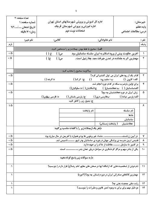 آزمون نوبت دوم مطالعات اجتماعی هفتم دبیرستان انصارالمهدی قرچک | خرداد 1396