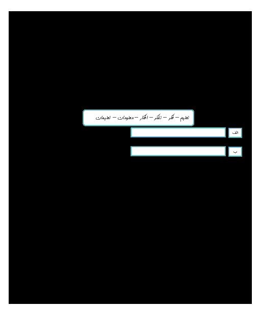 ارزشیابی مستمر نگارش فارسی ششم دبستان شهید منتظری   درس 1 تا 3