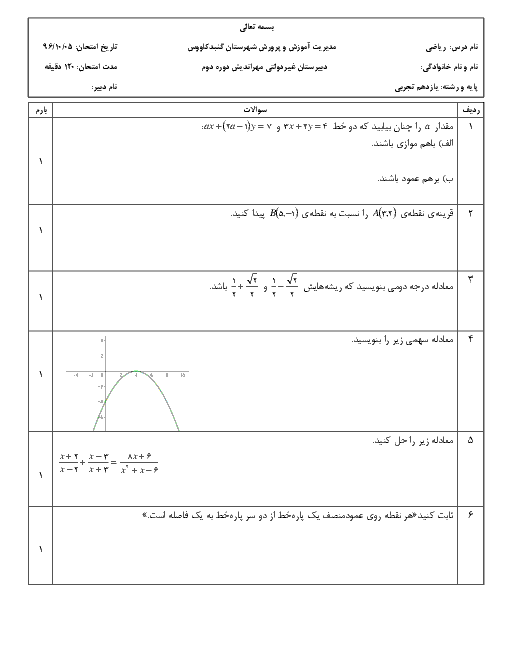 آزمون نوبت اول ریاضی (2) پایه یازدهم دبیرستان مهر اندیش | دی 1396
