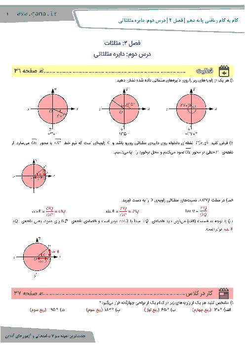 راهنمای گام به گام ریاضی (1) دهم رشته رياضی و تجربی   فصل 2   درس دوم: دايره مثلثاتی