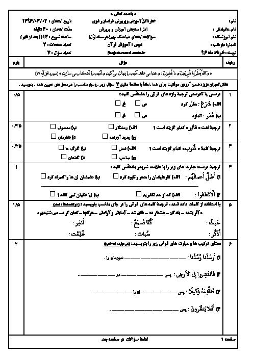 سوالات و پاسخنامه امتحانات هماهنگ نوبت دوم پایه نهم استان خراسان رضوی | نوبت عصر خرداد 96