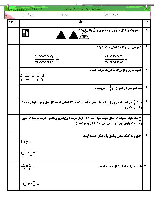 تمرین تکمیلی ریاضی ششم دبستان  شهید احمدی روشن پسران درمیان | فصل 2: کسر