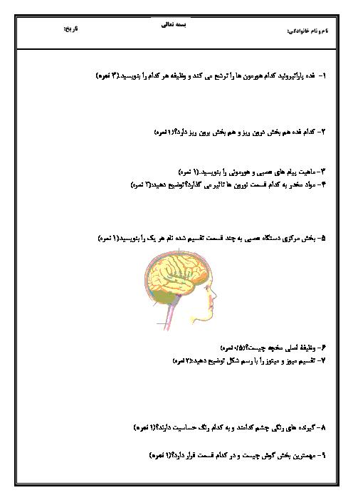 آزمون نوبت دوم زیست شناسی هشتم دبیرستان تیزهوشان شهید مدنی   خرداد 1398