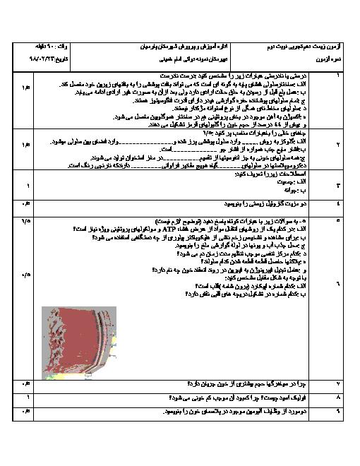امتحان ترم دوم زیست شناسی دهم دبیرستان امام خمینی پارسیان | خرداد 1398