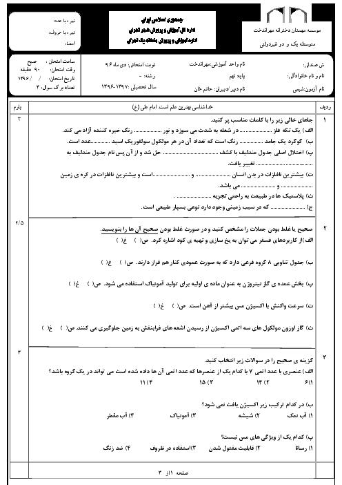 امتحان نوبت اول علوم تجربی (شیمی) نهم دبیرستان غیردولتی مهراندخت منطقه 1 تهران | دی 96