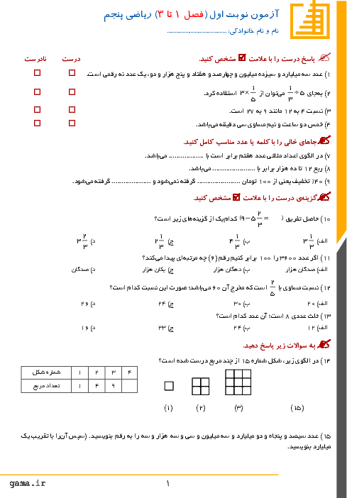 آزمون نوبت اول ریاضی پنجم دبستان ام البنین   دی ماه 95
