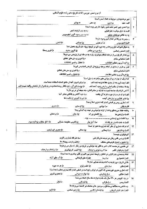 آزمون تستی  تاریخ (1) انسانی دهم دبیرستان حضرت علی بن ابیطالب   درس 1 تا 5