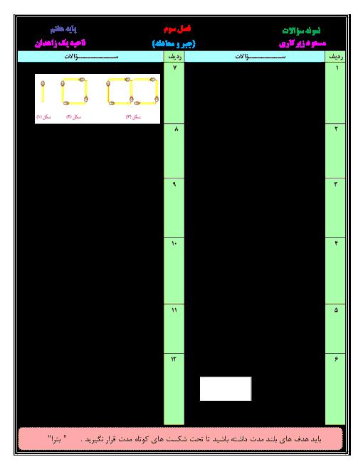 آزمونک ریاضی هفتم دبیرستان شهید رزمجو مقدم | فصل سوم: جبر و معادله