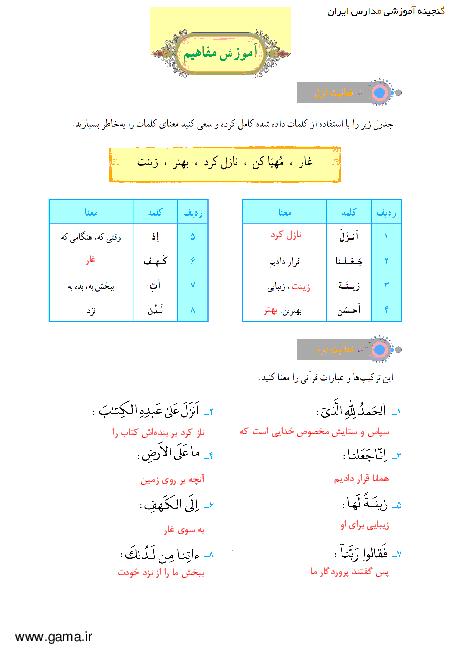 پاسخ فعالیت و انس با قرآن در خانه آموزش قرآن هفتم  جلسه اول درس 8: سوره اسرا و کهف