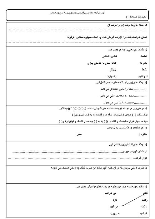 آزمون مدادکاغذی نگارش فارسی سوم دبستان شهید مرکی بیرجند   آبان 96: درس 1 تا 5