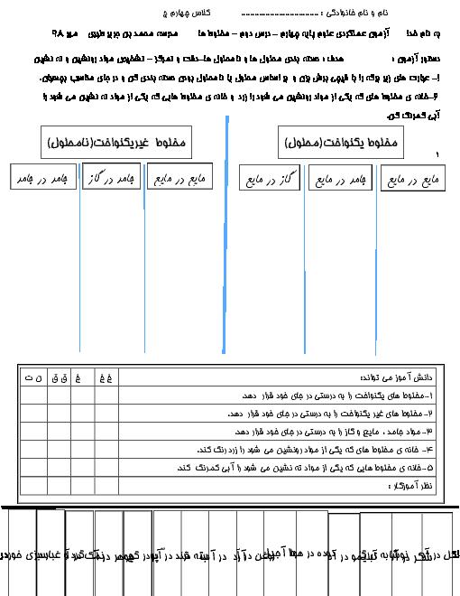 آزمون عملکردی علوم تجربی چهارم دبستان محمد بن جریر طبری | جدا سازی مخلوط های یکنواخت و غیر یکنواخت