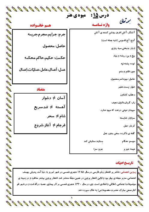 معنی عبارت های درس، واژه نامه، دانش زبانی و تاریخ ادبیات درس 15 | فارسی پایه ششم دبستان