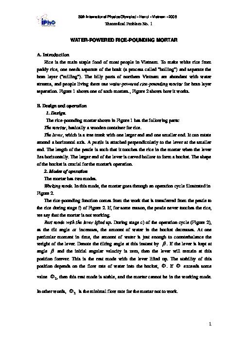 سؤالات سی و نهمین دوره المپیاد جهانی فیزیک با پاسخ تشریحی   سال 2008 (ویتنام)