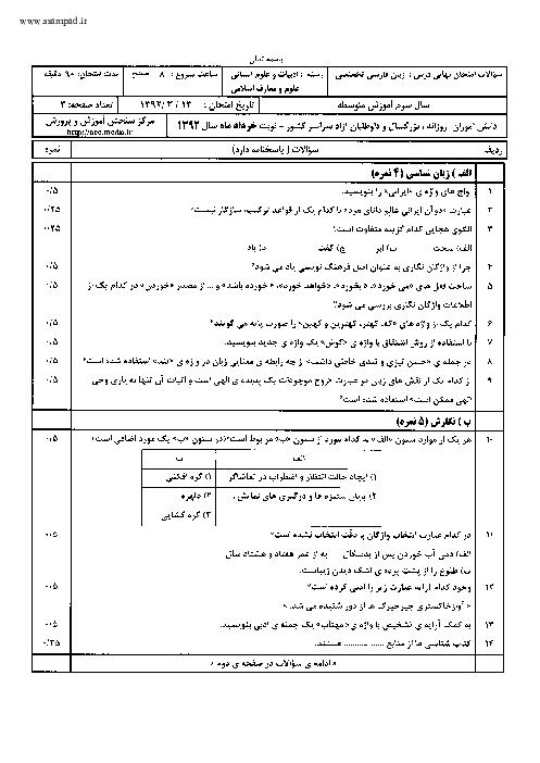 سوالات امتحان نهایی زبان فارسی تخصصی با پاسخنامه | خرداد 1392
