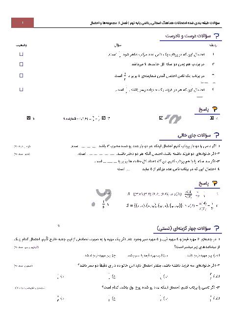 سؤالات امتحانات هماهنگ استانی فصل اول ریاضی نهم با جواب   درس 4: مجموعه ها و احتمال