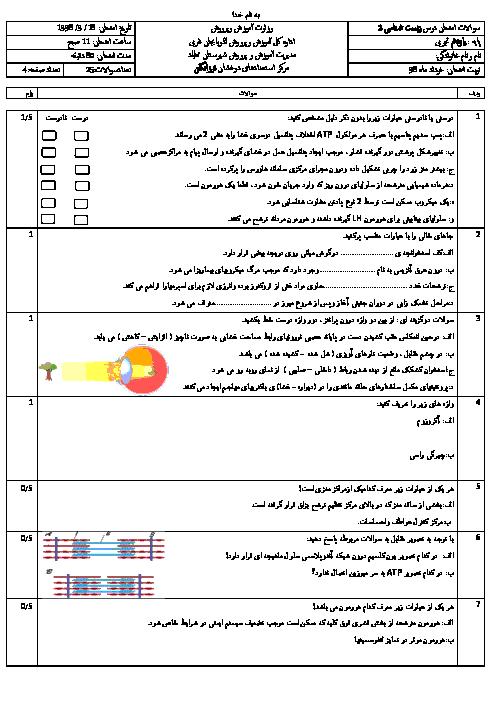 امتحان ترم دوم زیست شناسی یازدهم دبیرستان فرزانگان مهاباد | خرداد 1398