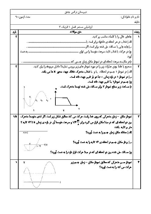 امتحان فیزیک دوازدهم تجربی دبیرستان نرگس جندق   فصل 1: حرکت بر خط راست