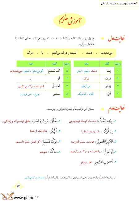 گام به گام آموزش قرآن نهم | پاسخ فعالیت ها و انس با قرآن درس 9: جلسه دوم (سوره مُلک)
