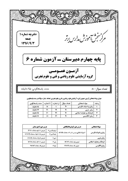 آزمون عمومی و اختصاصی دانش آموزان رشتۀ ریاضی و فیزیک چهارم دبیرستان (مرکز آزمون مدارس برتر ایران) | 3 آذر ماه 96
