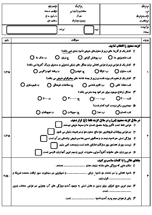 سوالات امتحان نوبت اول جغرافیا (2) یازدهم رشته انسانی دبیرستان هیئت امنایی شهید بهشتی سمیرم | دی 96