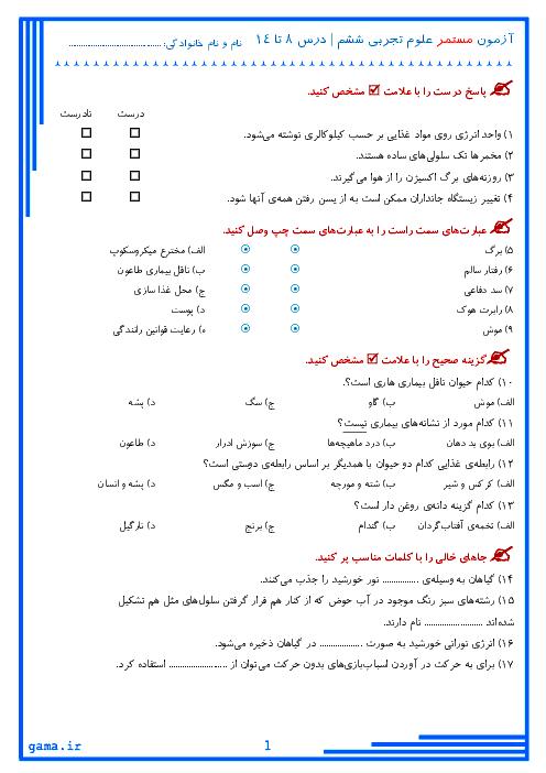 آزمون میان نوبت دوم علوم تجربی پایه ششم دبستان بنت الهدی صدر | درس 8 تا 14