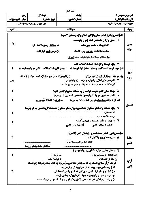 آزمون نوبت اول فارسی (2) یازدهم دبیرستان ابن سینا | دی 1396