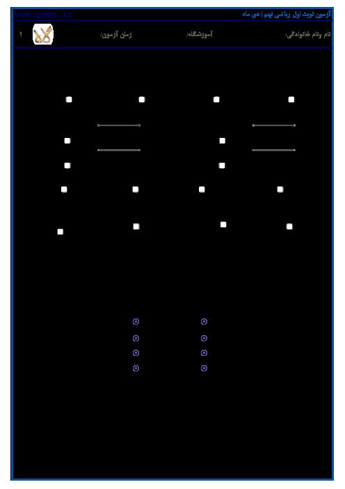 نمونه سوالات امتحانی نوبت اول ریاضی نهم | آمادگی دیماه 1397