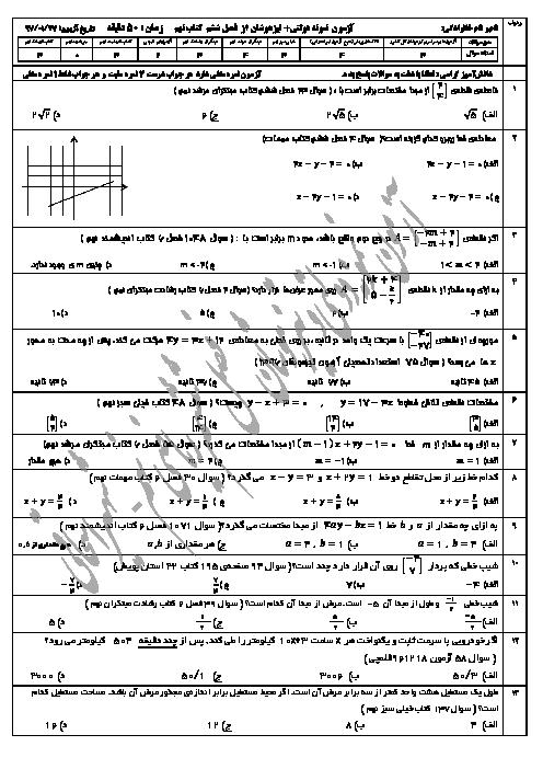 سؤالات آمادگی آزمون تیزهوشان و نمونه دولتی ریاضی نهم   فصل ششم: خط و معادلههای خطی