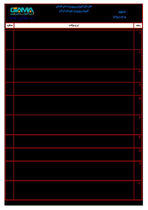 آزمون نوبت دوم انشا و نگارش ششم هماهنگ گرگان (شیفت صبح) | خرداد 1398