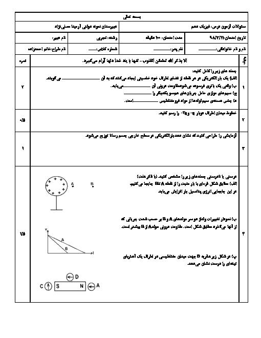 امتحان پایانی فیزیک (2) یازدهم دبیرستان نمونه آرمیتا مصلی نژاد | خرداد 1398