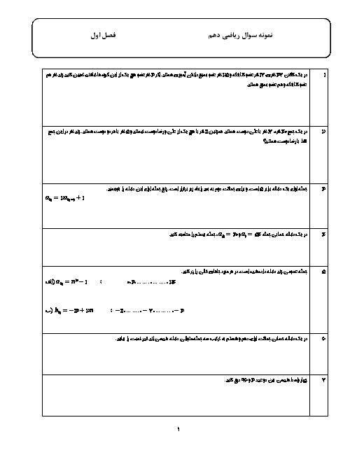 نمونه سوالات امتحانی فصل 1 ریاضی دهم | مجموعه، الگو و دنباله